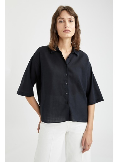 DeFacto Basic Oversize Fit Yarım Kollu Gömlek Siyah